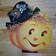SOLD Vintage Halloween Scarecrow Head Diecut with a Mouse 1940 - Red Tag Sale Item