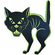 Beistle Halloween Diecut of a Screech Cat with a Large Head