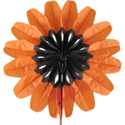Made in Germany Orange and Black Tissue Paper with Wood Handles Flower Fan Have 6