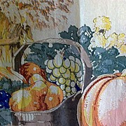 SOLD HOLD Vintage Thanksgiving Hand Colored Crepe Paper Panel 9-1/2 Feet