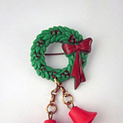 Vintage Plastic Christmas  Wreath with Two Dangling Bells Pin