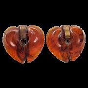 Pair of Root Beer Bakelite Heart-Shaped Dress Clips
