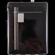 Black Hard Plastic Cigarette Case/Dispenser/Lighter with an Art Deco Design