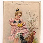 'A Happy Easter' Girl with Chicks Held in Her Skirt Postcard 1909