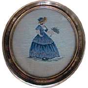 Petit Point & Needlepoint Picture of a Lady Holding Flowers from Marshall Fields