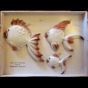 MCM Scandinavian Cast Aluminum Fish Plaques in the Original Box