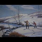 Oil on Canvas Hunt Scene c.1955 T. Kazakiewiez