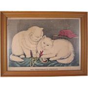 Early Framed Chromolithograph Print The Sweetheart's Portrait by Kellogg  And Bulkeley Cats