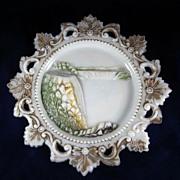 Souvenir of Niagara Falls Embossed & Painted Milk Glass Plate