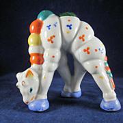 Figural Giraffe Eating Made In Japan Glazed Bisque Pincushion Geometric