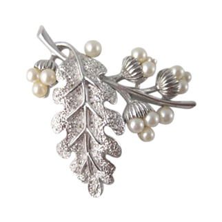Crown Trifari Leaf with Faux Pearl Acorns Brooch