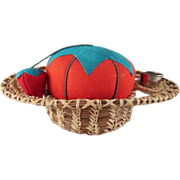 Woven Pine Needle Sewing Caddy with a Pincushion and Emery
