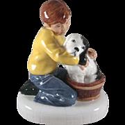 Royal Doulton Figurine 'Please Keep Still' a Boy Washes his Dog
