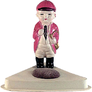 Celluloid Pincushion Young Boy with Horn Equestrian Made in Japan