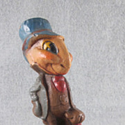 SOLD HOLD Jiminy Cricket from Pinocchio Syrocco Wood Figure