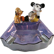 WDE Mickey & Pluto Made in Japan Lustre Ash Tray c1930s