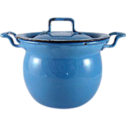 Miniature Enamelware Covered Kettle Turquoise