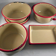 SOLD Child's Toy Graniteware Beige with Red Trim 5 Piece Cooking/Baking Set