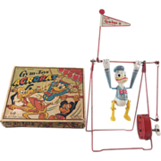 Line Mar Celluloid Donald Duck Acrobat Windup in Original Box Works