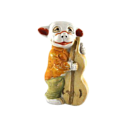 Bisque Made in Japan Bonzo Playing a Bass  Figure