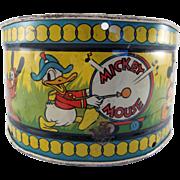 Walt Disney Enterprises Tin Litho Ohio Art Drum 1930s