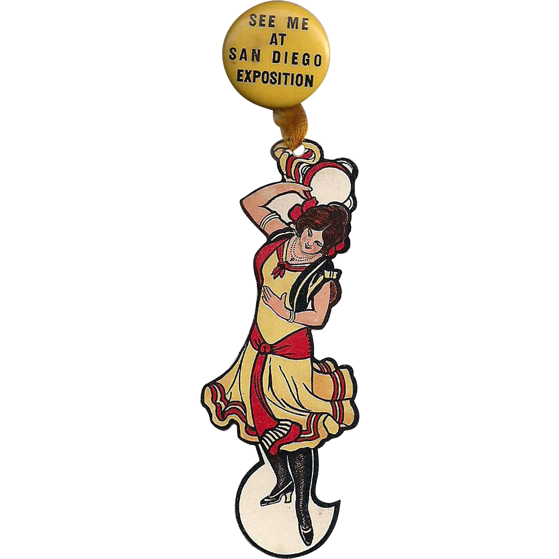 San Diego Exposition 1935 'See Me . . .' Pinback with Celluloid Lady