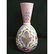 Large Elaborately Enameled Glass Bohemian Vase