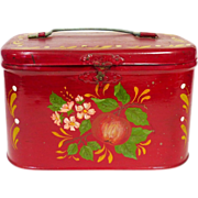 SOLD Primitive Antique Tin Tole Painted Box With Handle Red Toleware Tin Box - Red Tag Sale It