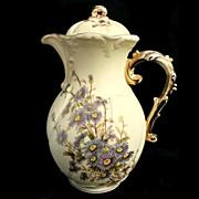 Royal Rudolstadt Antique Hand Painted Gilt Trimmed Chocolate Pot
