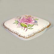 Lovely Porcelain Covered Vanity Trinket Box With Roses & Gilt