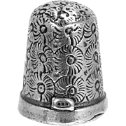 Antique Silver Thimble German 800 Mark Flower Pattern Silver Sewing Thimble