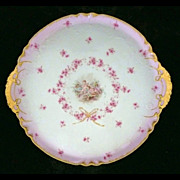 Exquisite Antique GDA  Limoges Platter with Putti Cherubs Pink Rose Floral