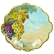Limoges Coiffe Flambeau Cabinet Plate Hand Painted  Artist Signed Grapes