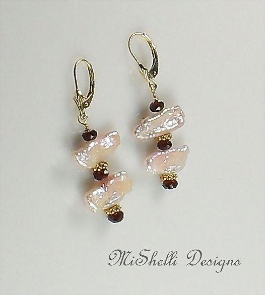 14K Gold Garnet and Pearl Stick Earrings
