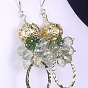 SALE Exotic Seas - Prasiolite Green Amethyst Tourmaline Vermeil Earrings