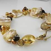 SALE Creamy Mother of Pearl Citrine Hessonite Quartz Vermeil Bracelet