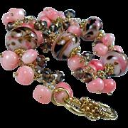 SALE Pink Coral Mocha Swirl Lampwork Quartz Vermeil Bracelet