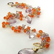 Blooming Flowers - Amethyst Carnelian Gemstone Cluster Bracelet