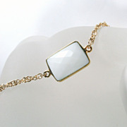 Spring Collection - White Chalcedony Gemstone Gold Bracelet