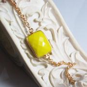 SALE Yellow turquoise Gemstone Bezel Bracelet