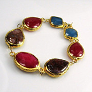 Ruby Red Jade Agate Gold Dipped Gemstone Bracelet
