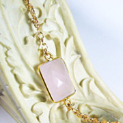 SALE Natural Rose Quartz Gold Dipped Gemstone Bracelet