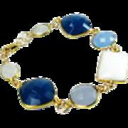 SALE White Chalcedony Quartz Gold Statement Bracelet