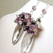 SALE Purple and Light Amethyst Quartz Crystal Onyx Sterling Cluster Earrings