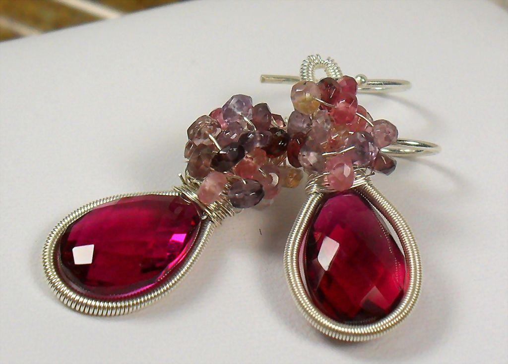 Rubellite Red Quartz Spinel Gemstone Cluster Sterling Earrings