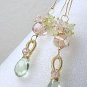 Green Pink Quartz Amethyst Prehnite Gemstone Gold Filled Dangle Earrings
