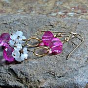 SALE WINTER CLEARANCE Pink Quartz Rainbow Moonstone Gold Filled Dangle Earrings