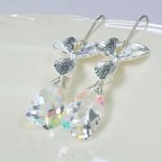 SALE Rainbow Moonstone Orchid Sterling Earrings