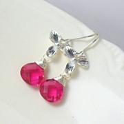 SALE WINTER CLEARANCE Hot Pink Quartz Orchid Sterling Dangle Earrings