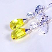 SALE Yellow Quartz Orchid Sterling Dangle Earrings